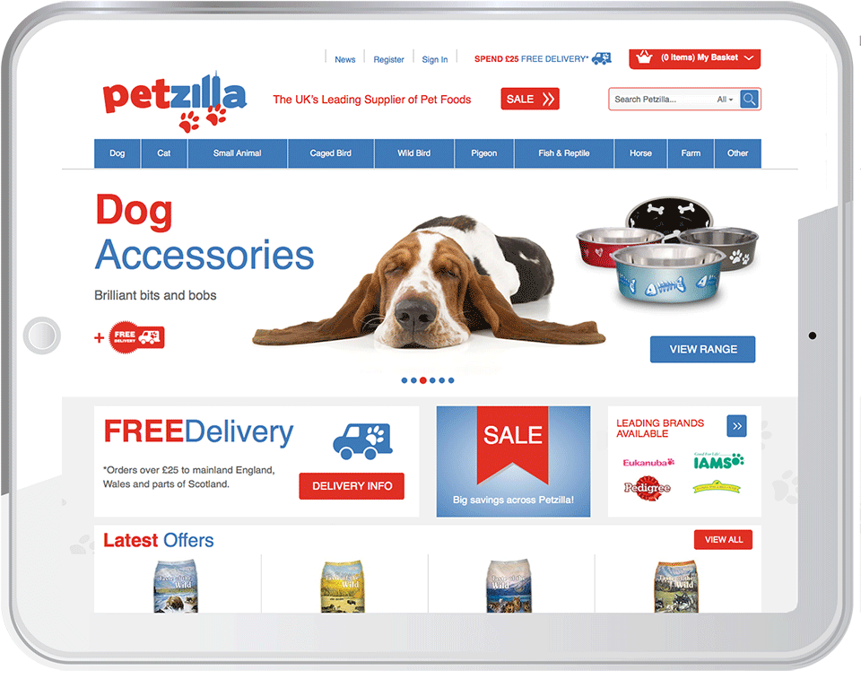 Petzilla Website Tablet - B2C E-Commerce